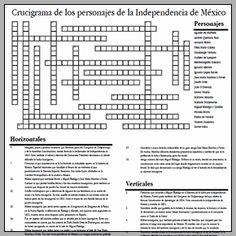 Crucigrama de los personajes de la Independencia de México