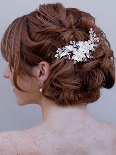 Hair Comes the Bride - Rhinestone Flower Comb ~ Lola, $92.00 (http://www.haircomesthebride.com/rhinestone-flower-comb-lola/)