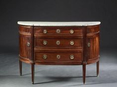 Paire de commodes demi-lune de style Louis XVI, fin XIXe s.,