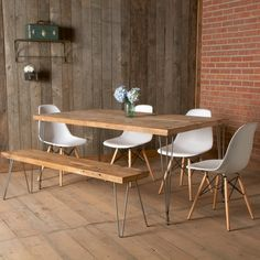 Furniture Ideas. Beautiful Reclaimed Wood Table Vintage Designs And Styles: Popular Rectangle Dining Reclaimed Wood Table With Benches Feat White Unique White Dining Chairs On Wood Floors And Brick Wall In Outdoor Dining Set Furnishing Designs