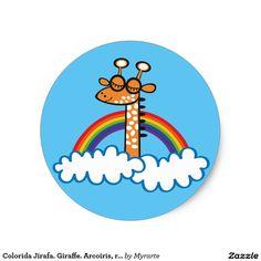 Colorida Jirafa. Giraffe. Arcoiris, rainbow. Producto disponible en tienda Zazzle. Product available in Zazzle store. Regalos, Gifts. Link to product: http://www.zazzle.com/colorida_jirafa_giraffe_arcoiris_rainbow_classic_round_sticker-217379233362760098?CMPN=shareicon&lang=en&social=true&rf=238167879144476949 #sticker #jirafa #giraffe