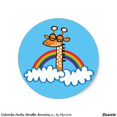 Colorida Jirafa. Giraffe. Arcoiris, rainbow. #sticker