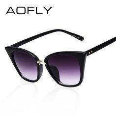 Aofly cat eye los vidrios de sun para las mujeres diseñador de la marca gafas de sol de marco ovalado gafas de color degradado gafas uv400 gafas de sol