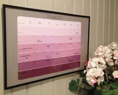DIY colorful paint chip calendar!! Easy to use and reuse again and again!! ~themysticwave.com