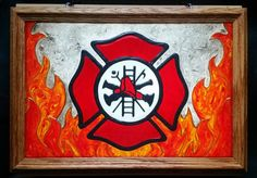 Firefighting Window Art faux stain glass painted glass sun catcher firefighter fire department guys for him dad son father's day gift flames hot smoke husband den man cave