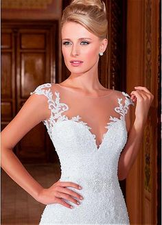 Brillantes vestidos de novia de tul joya cuello de la sirena con Listones