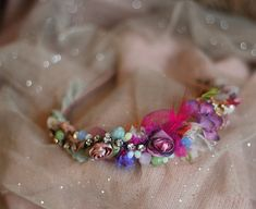 Muse--embroidered and beaded headband with vintage textiles