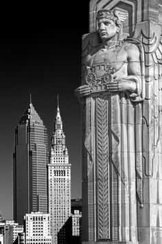 This black and white image of a traffic guardian on the Hope Memorial Bridge lined up nicely with the towers in the background. (Photo courtesy of Glenn Petranek) Art Nouveau, Cleveland Art, Cleveland Rocks, Art Deco Furniture, Plywood Furniture, Modern Furniture, Furniture Design, Art Deco Stil, Streamline Moderne