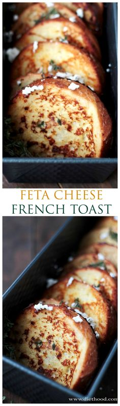 Soaked in a custard blend with crumbled feta cheese and fresh thyme, this Savory Feta Cheese French Toast will quickly become your family's favorite! French toast can be savory too, not just a sweet thing anymore! Food twist, savory breakfast