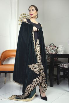 buy online Velvet Shawls in pakistan. New fashion for girl 2019 Dresses with Best Quality and Cash on Delivery. For Order Contact Usama Silk, online shopping sites in Pakistan for the latest collection 2019 in Pakistan. New Fashion, Girl Fashion, Womens Fashion, New Girl Style, Velvet Shawl, Pakistani Designers, Different Fabrics, Online Boutiques, Winter Collection