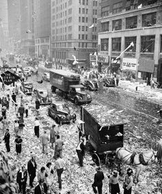 Paper litters Seventh Avenue at 35th Street in New York's Garment District as workers began celebrating after it was announced Japan had accepted the Allied surrender terms on Aug. 14, 1945.