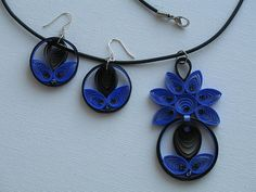 Matching earrings and necklace done in Quilling!