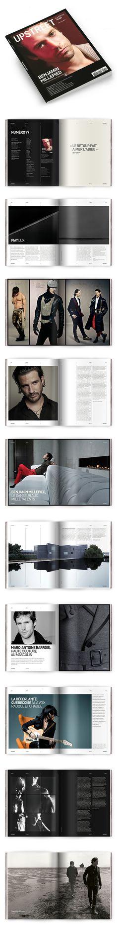 Upstreet Magazine: Men's Fashion, Arts & Culture // via Behance – fashion editorial layout Page Layout Design, Web Design, Print Design, Graphic Design, Book Layout, Magazine Page Layouts, Magazine Layout Design, Editorial Layout, Editorial Design