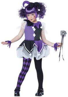 girls dark jester clown costume