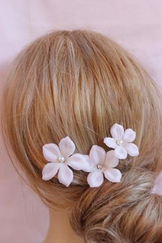 Bridal hair pin flowers with pearl centers set of 3 by SULTANHAIR, $22.00