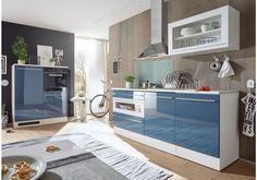 Ein Traum in blau! Diese Küche wird zu einem absoluten Highlight in Ihren vier Wänden.  32-00235 Küchenzeile Küchenblock blau weiss hochglanz tiefgezogen/ weiss matt