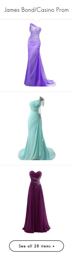 """James Bond/Casino Prom"" by kellylox ❤ liked on Polyvore featuring dresses, gowns, long dresses, purple, robes, purple gown, long chiffon gown, long evening dresses, prom dresses and long purple dress"