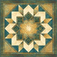 Showcase block motifs and a narrow lengthwise stripe in a stunning traditional star quilt. Lone Star Quilt, Star Quilts, Quilt Blocks, Mini Quilts, Baby Quilts, Celtic Quilt, Antique Quilts, Vintage Quilts, Rustic Quilts