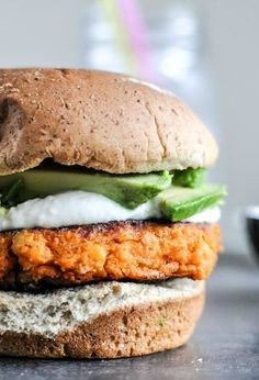 Smoky Sweet Potato Burgers with Roasted Garlic Cream