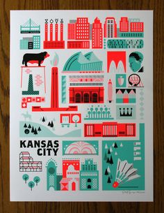 KC Landmark Print Spearmint and Safety Red by PatrickGiroux, $25.00
