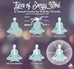 Witchy Words: Types of Energy Work: A Visual Guide Chakra Meditation, Chakra Healing, Spiritual Meditation, Grounding Exercises, Magick Spells, Magick Book, Green Witchcraft, Baby Witch, Mystique