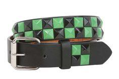 "Kids 1"" Snap On Punk Rock Black & Green Star Studded Checkerboard Leather Belt"