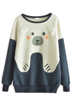 This sweatshirt will really give you a chic impression with cute bear design, It completes with a round neckline and dropped long sleeves,ribbed trim. Fashion Sweatshirts, Printed Sweatshirts, Hoodies, Bear Print, Cute Bears, Baby Dress, Women's Fashion, Street Style, My Style