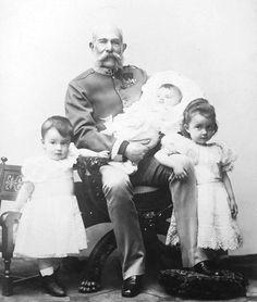 Proud grandfather: Franz Joseph with the eldest children of his youngest daughter Archduchess Marie Valerie: Elisabeth, Franz Karl & Hubert Salvator