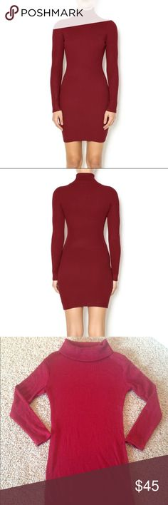 "NWT Burgundy Turtleneck Sweater Mini Dress Brand new in package.  Color is burgundy/red as shown in first two pictures.  Sexy bodycon turtleneck sweater dress.  Not see through, medium weight knit, lots of stretch. Approx measurements laying flat:  Medium will fit a size 4/6 chest 15.5"", length 32"", sleeves 21"".  Large will fit a size 6/8 chest 17"", length 32"", sleeves 21"".  Order up if you'd like an oversized fit. Dresses Mini"