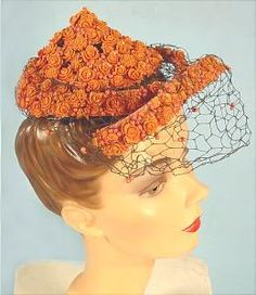 this Bes-Ben has almost a Thai look with the peaked style! And the coral flowers! Caroline Reboux, Hats For Women, Ladies Hats, Suzy, Orange Hats, Stylish Hats, Felt Hat, Hat Pins, Fascinators