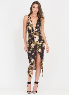 Flower Trip Plunging Tied Midi Dress