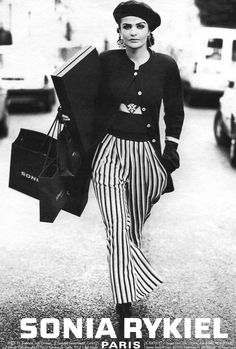 Helena Christensen | For Sonia Rykiel Campaign | 1992 #helenachristensen #soniarykiel #1992 ~ chic nautical style