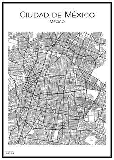 Mexico City. Map. City print. Print. Affisch. Tavla. Tryck. Stadskarta. Mexico City Map, Mexico Art, City Print, Print Print, Ny Map, Map Wallpaper, Map Of New York, City Maps, Map Art