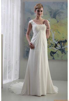 Square-neck Kolumne Bodenlang Elegante Schlichte Brautkleider