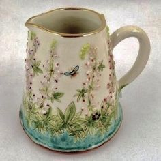 Stacey Manser Knight 'Lupins by the Track' Jug/Pitcher - I adore her pottery :) Ceramic Pitcher, Ceramic Tableware, Glass Ceramic, Ceramic Mugs, Ceramic Art, Slab Pottery, Ceramic Pottery, Pottery Art, Pottery Painting Designs