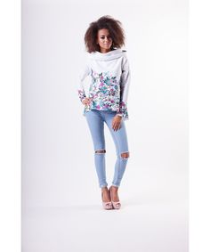 BLUZA Z KAPTUREM FLOWERS