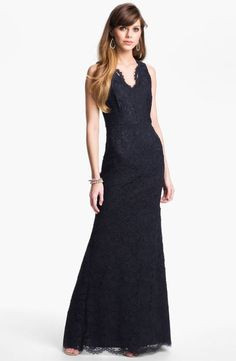 ✔ Adrianna Papell Sleeveless Lace Gown Navy Size 4 $248 23 New | eBay