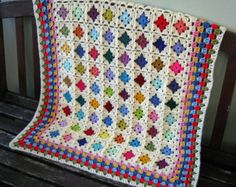 SALE 25% Off Crochet Baby Blanket Miniature Granny Squares In Stock Ready To Ship