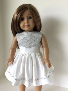 """This """"Little '50s Dress"""" by Flossie Potter would be a great addition to your Girls wardrobe. Dress is woven cotton within a lace overlay. Velcro closure for ease of dressing.  Sold please contact me for a custom order.  Pattern available at Pixie Fair."""