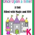 This file is a 54 page down load that will walk you through introducing fairy tale elements and sharing much loved fairy tales with your KINDERGARTEN class.  Included you will find: Bulletin Board Idea Crown Craft and Task Sheets Once Upon a Classroom book list Guess that Fairy Tale cards and response sheets.  $9.99