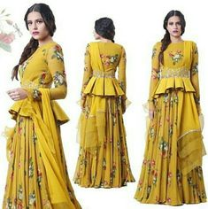 A mustard Anarkali featuring hand embroidered detachable corset belt and organza cuffs in our signature print. Choli Blouse Design, Sari Blouse Designs, Designer Blouse Patterns, Lehenga Designs, Kurta Designs, Indian Attire, Indian Ethnic Wear, Indian Dresses, Indian Outfits