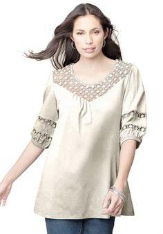d087d3d6b980f  25 Plus Size Tunic Top With Crochet Trim