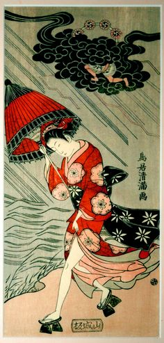 Woodblock print by Torii Kiyomitsu showing Woman with umbrella in a storm (17th century).    Private collection -photographed by a relative of the owner.