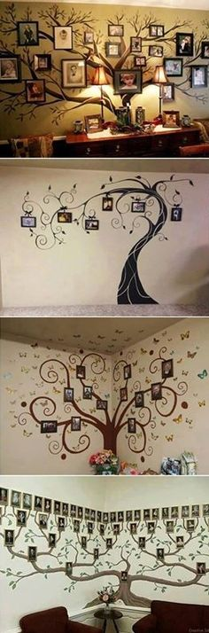 34 Ideas family tree wall mural painting pictures for 2019 Family Tree Photo, Family Tree Wall, Photo Tree, Family Trees, Cool Art Projects, Home Projects, Picture Wall, Picture Frames, Home Decoracion