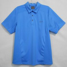 Greg Norman for Tasso Elba Golf Shirt Size S Blue Short Sleeve Play Dry Polo Mens  - This mens short sleeve polyester solid golf shirt would be  perfect to wear on the course, or off.
