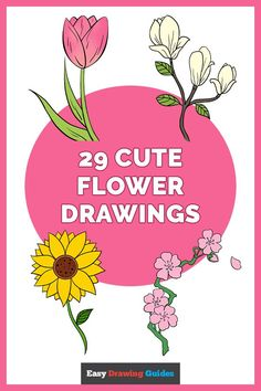 Cute Flower Drawing, Easy Flower Drawings, Flower Drawing Tutorials, Easy Drawings, Flowering Cherry Tree, Dancing Daisy, Learn To Sketch, Early Spring Flowers, Cherry Blossom Japan