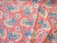 Vintage Full Feedsack Fabric Novelty HEARTS by FabricTreasures4U,