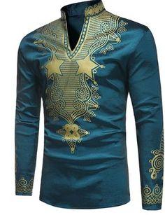 Pizoff Mens Long Sleeve Luxury Design Print Dress Shirt TB0717-2