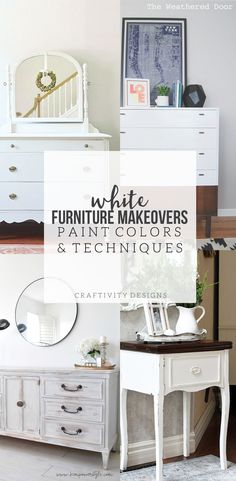 8 White Furniture Makeovers + Paint Colors, White Furniture Makeovers, paint colors and techniques. White is a versatile, classic, option for painted furniture. This post discusses 4 different techniques, including paint colors. by @CraftivityD
