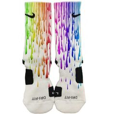 Custom Nike Elite Paint Drips Socks Cute Socks FAST SHIPPING! 2015 ($27) ❤ liked on Polyvore featuring intimates, hosiery, socks, multi color socks, multi colored socks, nike, nike socks and colorful socks